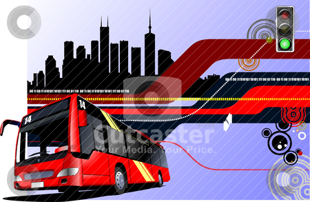 Abstract hi-tech background with city bus image. Vector illustra stock vector clipart, Abstract hi-tech background with city bus image. Vector illustration by Leonid Dorfman