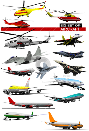 Big set of aircraft. Vector illustration stock vector clipart, Big set of aircraft. Vector illustration by Leonid Dorfman