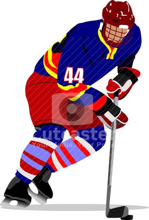 Ice hockey players. Colored Vector illustration for designers stock vector clipart, Ice hockey players. Colored Vector illustration for designers by Leonid Dorfman