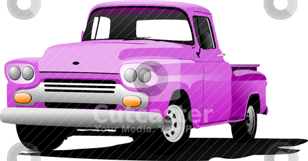 Old pink pickup with badges removed. Vector illustration stock vector clipart, Old pink pickup with badges removed. Vector illustration by Leonid Dorfman
