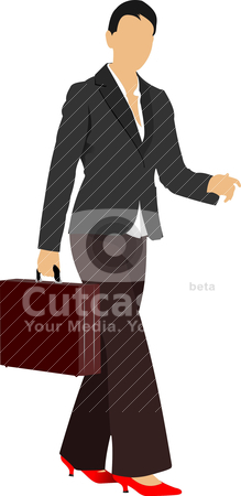 Business woman. Colored Vector illustration stock vector clipart, Business woman. Colored Vector illustration by Leonid Dorfman