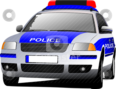 Police car. Municipal transport. Colored vector illustration. stock vector clipart, Police car. Municipal transport. Colored vector illustration. by Leonid Dorfman