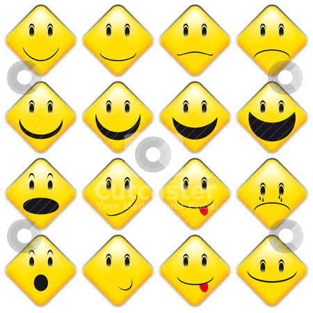 Set of Yellow Smileys stock vector clipart, Set of Emoticons - Collection of Yellow Squared Smileys by JAMDesign