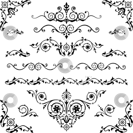 Vintage design elements stock vector clipart, Vector set of floral decorative elements and flourishes, elements are individually grouped for easy editing and color change. by Ela Kwasniewski