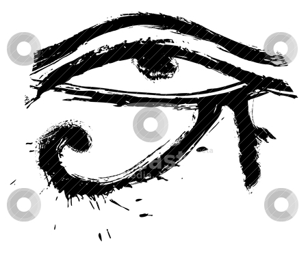 Eye of Horus stock vector clipart, Egyptians religion symbol created in grunge style by Oxygen64