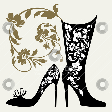 Shoes collection stock vector clipart, Black silhouettes of women shoes collection and ornaments by Ela Kwasniewski
