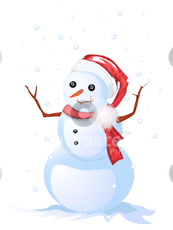 Happy snow man stock vector clipart, Image shows a smiling snow man, isolated and grouped objects over white by Richard Laschon