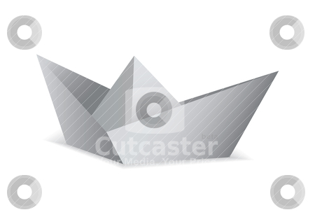 Origami paper boat stock vector clipart, White paper boat folded origami concept by Michael Travers