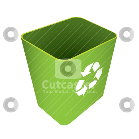 Recycle waste can stock vector clipart, Green waste recycle can or bin with symbol by Michael Travers