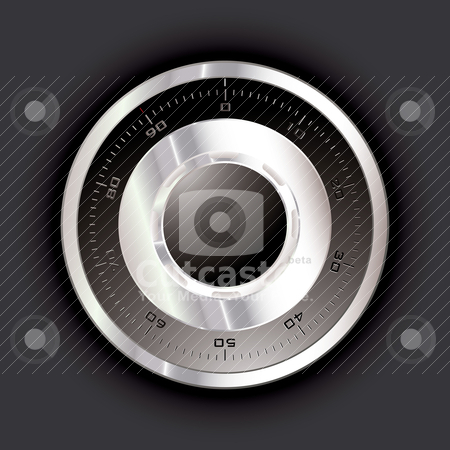 Safe dial dark stock vector clipart, Silver metal safe dial with black background by Michael Travers
