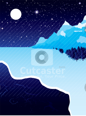 Winter ice stock vector clipart, Night landscape with winter snow ice and starry sky by Michael Travers