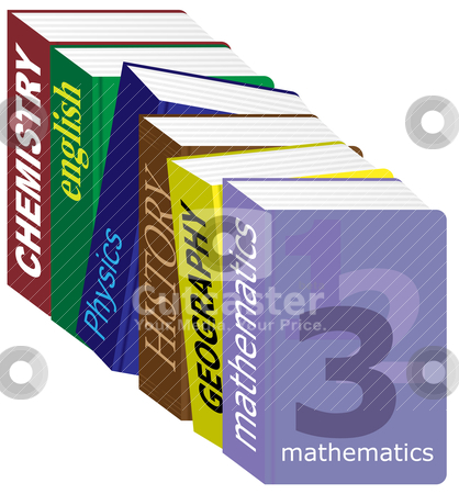 Textbooks stock vector clipart, Row of english schoolbooks isolated on white by JAMDesign