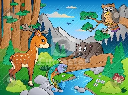 Forest scene with various animals 1 stock vector clipart, Forest scene with various animals 1 - vector illustration. by Klara Viskova