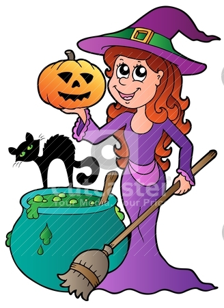 Cartoon Halloween witch with cat stock vector clipart, Cartoon Halloween witch with cat - vector illustration. by Klara Viskova