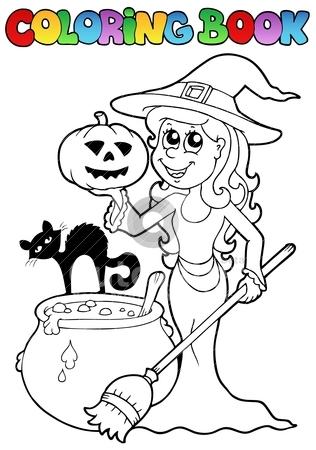 Coloring book Halloween topic 2 stock vector clipart, Coloring book Halloween topic 2 - vector illustration. by Klara Viskova