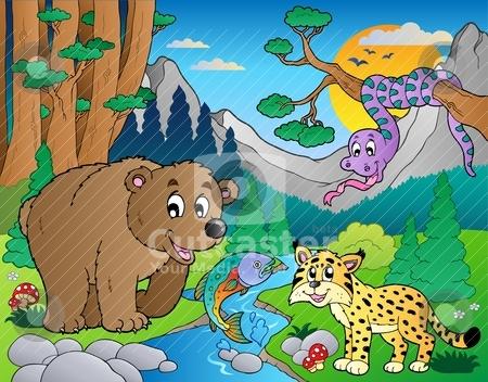 Forest scene with various animals 9 stock vector clipart, Forest scene with various animals 9 - vector illustration. by Klara Viskova