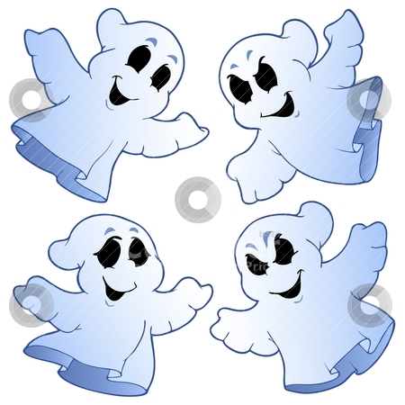 Four cute ghosts stock vector clipart, Four cute ghosts - vector illustration. by Klara Viskova