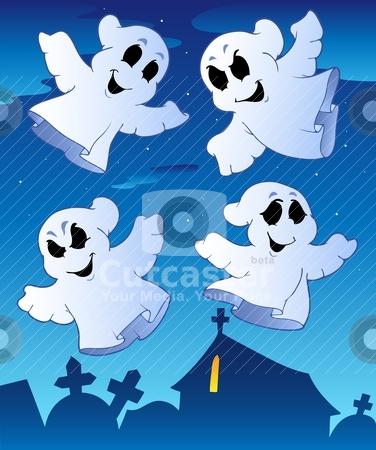 Four ghosts near cemetery stock vector clipart, Four ghosts near cemetery - vector illustration. by Klara Viskova