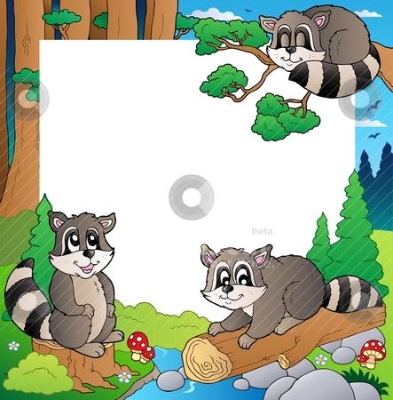 Frame with forest theme 4 stock vector clipart, Frame with forest theme 4 - vector illustration. by Klara Viskova