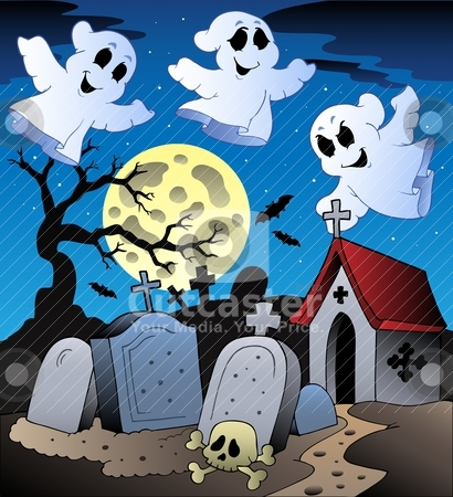Halloween scenery with cemetery 2 stock vector clipart, Halloween scenery with cemetery 2 - vector illustration. by Klara Viskova