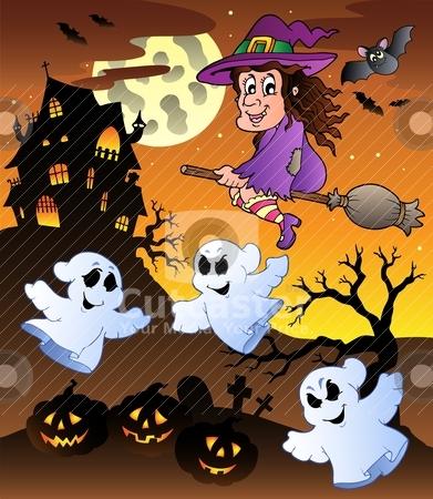 Scene with Halloween mansion 5 stock vector clipart, Scene with Halloween mansion 5 - vector illustration. by Klara Viskova