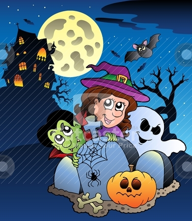 Scene with Halloween mansion 7 stock vector clipart, Scene with Halloween mansion 7 - vector illustration. by Klara Viskova