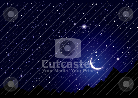 Space nights sky stock vector clipart, Dark space nights sky with silhouette mountains by Michael Travers
