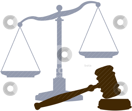 Scales Gavel legal justice court system symbols stock vector clipart, Scales and Gavel as symbols of the law lawyers and the legal justice court system by Michael Brown