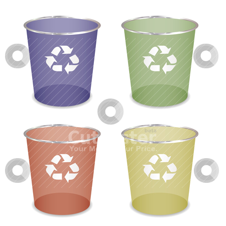 Concept recycle can stock vector clipart, Brightly coloured recycle trash or waste bin by Michael Travers