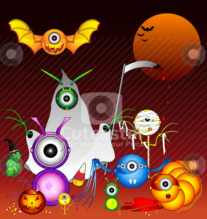 Halloween Monsters stock vector clipart, A collection of Halloween monsters that seem to thrive off of candy corn. Watch out, they are willing to kill for it. by macropixel