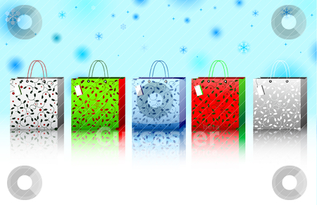Holiday Gifts stock vector clipart, A collection of 5 different colored holly and berry designed holiday gift bags against a winter snowflake background. by macropixel