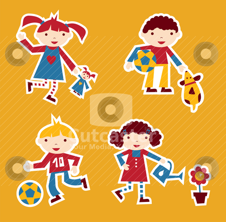 Kids playing stock vector clipart, Cute modern style illustration of children playing with their favourite toy by Cienpies Design
