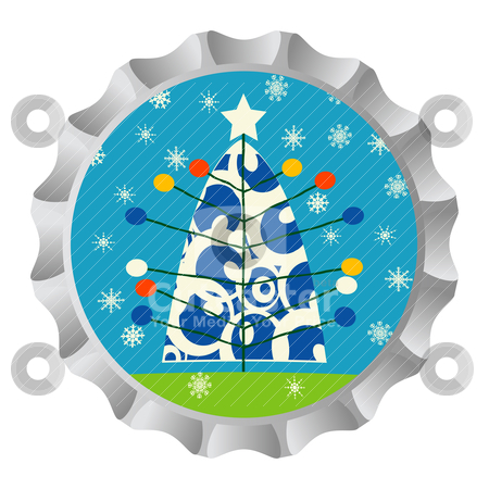 Christmas tree bottle cap stock vector clipart, Retro bottle cap with Christmas tree ans snowflakes by Richard Laschon