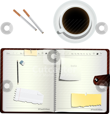 Coffee and cigarettes  stock vector clipart, Coffee, cigarettes  and an open organizer, isolated and grouped objects over white by Richard Laschon