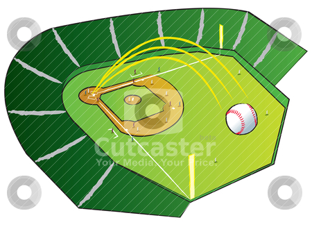 GrandSlamHomeRun stock vector clipart, A baseball flying high out of the park with bases loaded. by Jamie Slavy