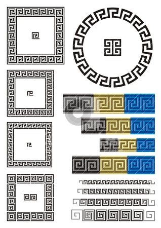 Greek key pattern stock vector clipart, Borders and dividers created using ancient Greek key patterns. by fractal.gr