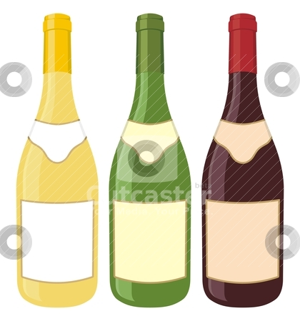 Wine bottles stock vector clipart, Yellow, green and red wine bottle illustration on white background. by fractal.gr