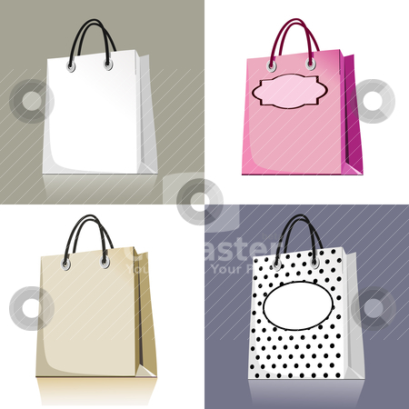 Set of shopping bags stock vector clipart, Set of shopping bags in different design and colors  by Ela Kwasniewski