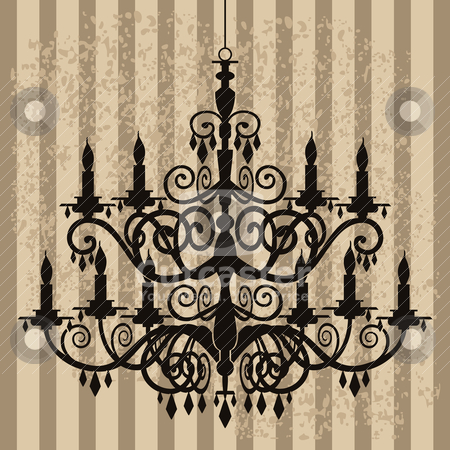 Vintage chandelier on antique background stock vector clipart, Vintage, baroque chandelier silhouette on antique background, full scalable vector graphic, change the colors as you like. by Ela Kwasniewski
