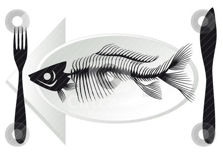 Fish bones on plate, vector stock vector clipart, overfishing, fish bones on plate, vector illustration by Beata Kraus