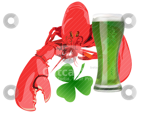 Lobster with green beer stock vector clipart, lobster with green beer on white background by Yuriy Mayboroda