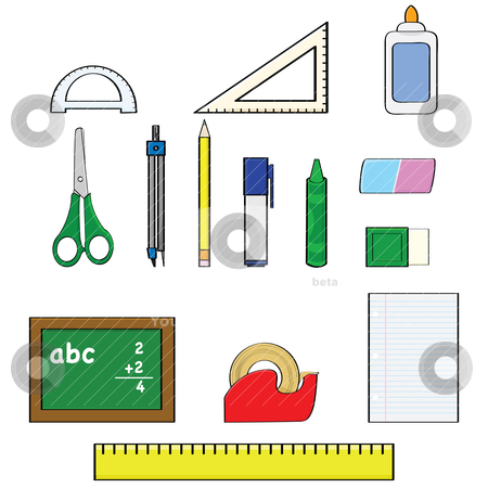 School supplies stock vector clipart, Cartoon illustration set showing different school supplies, such as pencils, rulers and erasers by Bruno Marsiaj