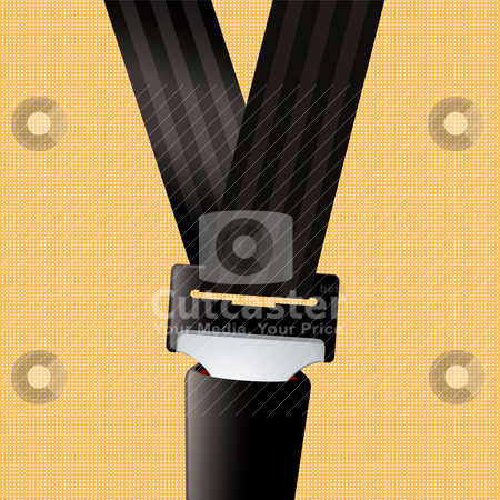 Car set belt clip in orange stock vector clipart, Saftey seat belt clipped in with orange background by Michael Travers