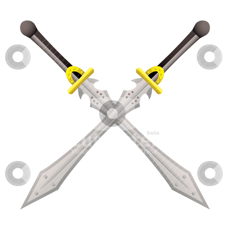 Big sword cross stock vector clipart, Two large swords crossed ideal for coat of arms by Michael Travers