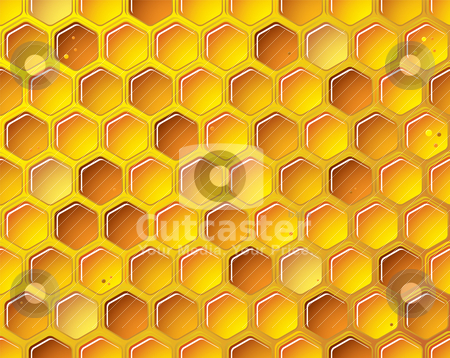 Honeycomb background concept stock vector clipart, golden bee honeycomb background with bubbles by Michael Travers