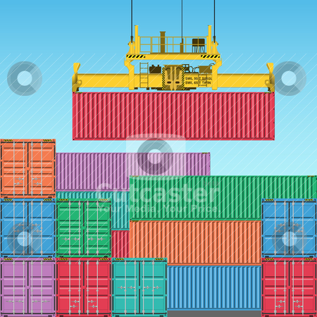 Freight Containers stock vector clipart, Stacks of Freight Containers at the Docks with Crane by Binkski Art
