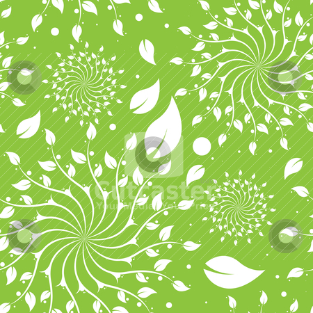 Green Floral Seamless Pattern stock vector clipart, Green floral seamless pattern background with leaves and dots by HypnoCreative