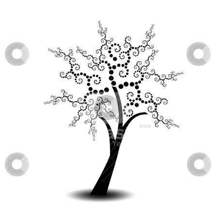 Art tree stock vector clipart, Beautiful art tree with polka dots isolated on white background by Ingvar Bjork