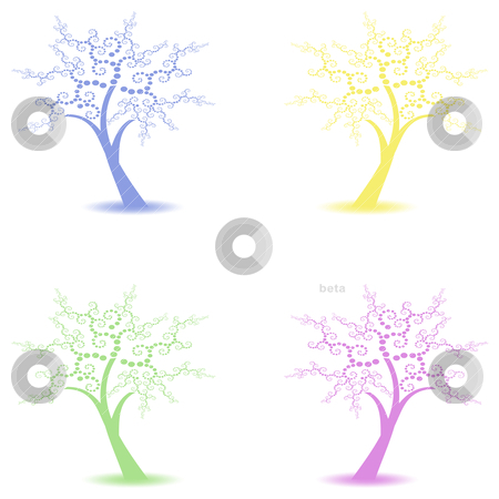 Art trees collection stock vector clipart, Beautiful art trees collections isolated on white background by Ingvar Bjork
