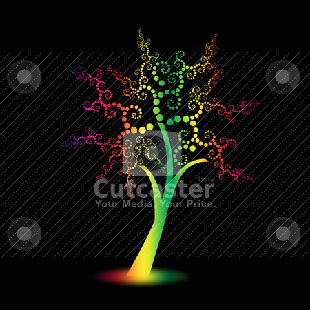 Art trees  stock vector clipart, Colorful art trees with polka dots isolated on black background by Ingvar Bjork